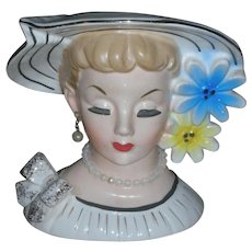 Vintage Relpo Lady Head Vase Planter