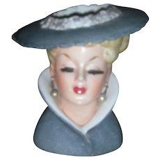 Vintage Lady Headvase Planter Napco 1959 Head Vase Brush Lashes