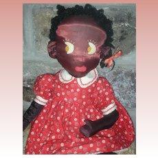 Vintage Black Sateen Doll Artist Doll