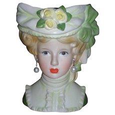 """Vintage Inarco Victorian Lady Head Vase 7"""" Headvase"""
