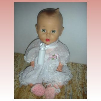 """Vintage 1950's Sun rubber Gerber Baby Doll 11"""" Baberton USA HTF Drink and Wet"""
