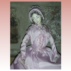 1975 NIADA Exhibition Artist Doll by Rene Harrison 1840's-1850's Lavender Bonnet 14""