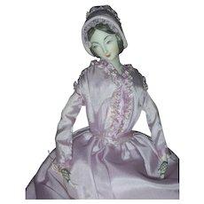 "1975 NIADA Exhibition Artist Doll by Rene Harrison 1840's-1850's Lavender Bonnet 14"""