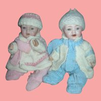 Pair of Twin 8 inch Bisque Character Babies Dolls Morimura Brothers