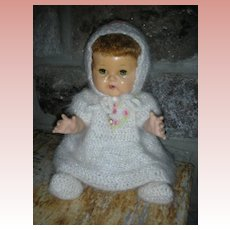 Vintage 16 Inch 1950's American Character Tiny Tears Doll Dressed in White Mohair Suit