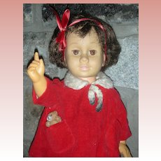 Early HTF Brunette Mattel Chatty Cathy Doll with Brown Eyes Dressed in Original Tagged Holiday Coat and Dress