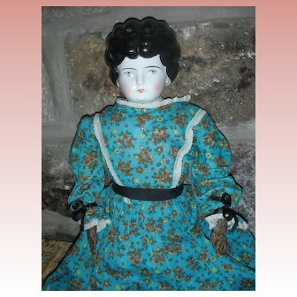 "Antique Large Low Brow China Head Doll 24"" with Leather Hands"