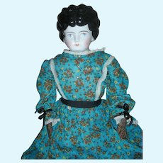 """Antique Large Low Brow China Head Doll 24"""" with Leather Hands"""