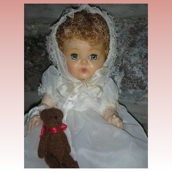 "Vintage American Character 1950's Tiny Tears 12"" Doll in Rare White Christening Gown"