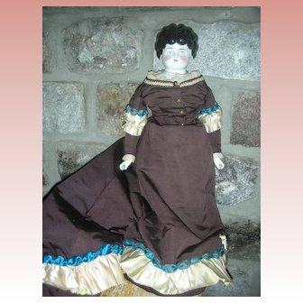 "Antique Low Brow Large 24"" China Head Doll Elaborate Costume"