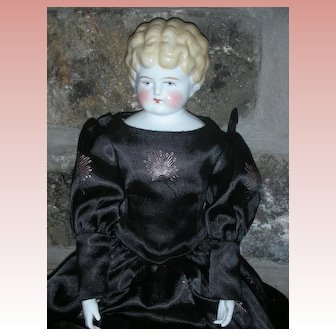 "Antique Low Brow Large 24"" Blonde China Head Doll on Kid Leather Body"