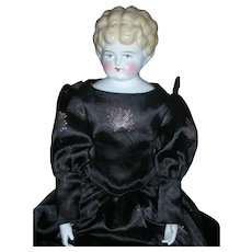 """Antique Low Brow Large 24"""" Blonde China Head Doll on Kid Leather Body"""