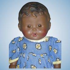 "Vintage 1950's Sun Rubber Toy Tod L Tot Black Doll 11"""
