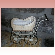 Vintage Miniature Wicker Doll Pram Buggy 8.5""