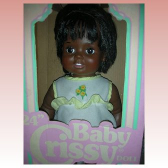 Vintage IDeal Baby Crissy Doll 24 inch Grow Hair Doll Mint in Box Playpal Size African American