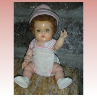 """Vintage American Character Tiny Tears Doll Small Size 10.5"""" Rock A Bye Eyes"""