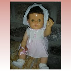"Rare 20"" Brunette Version American Chracter Tiny Tears Doll All Original Drink and Wet 1950's"