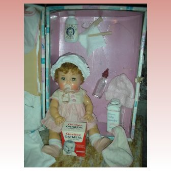 """Rare 1950's Small 12"""" American Character Tiny Tears Doll With Rubber Body and Saran Hair in Case"""