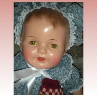 """Antique Composition Happy Baby Doll 26"""" Tin Sleep Eyes"""