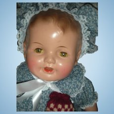 "Antique Composition Happy Baby Doll 26"" Tin Sleep Eyes"