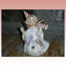 Vintage January New Year's Eve Christmas Birthday Angel Figurine Lefton Rhinestone