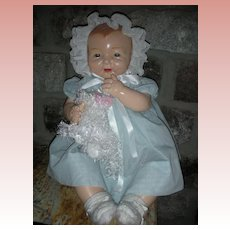 Vintage Effanbee Bubbles Doll Large 26 Inch 1920's Chubby Baby Doll