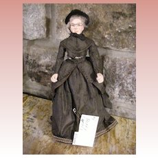 "Vintage 1970s Betty Curtis NIADA Doll Artist  ""Deacon Smith's Wife"" Paper Mache"