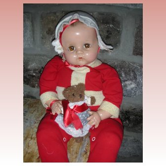 Vintage Ideal 22 Inch Composition Mama Doll Molded Hair