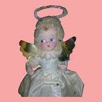 Vintage 1950's Musical Christmas Angel Doll Holding Tree