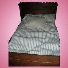 Antique Eastlake Wooden Oak Doll Bed