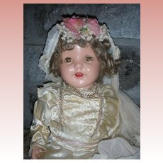 "Rare Early Large 26"" 1930's Composition Bride Doll"