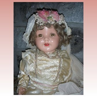 """Rare Early Large 26"""" 1930's Composition Bride Doll"""