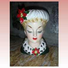 Vintage Inarco Christmas Lady Headvase Planter Head Vase 6 Inch