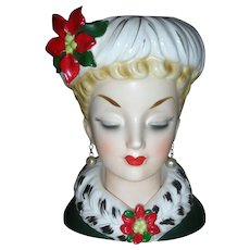 Vintage Inarco Christmas Lady Headvase Planter Head Vase 6 Inch