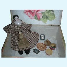 Early Pink Tinted China Doll Covered Wagon Hairstyle Dollhouse Size 8.5 inch with Accessories and Wardrobe