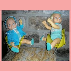 Rare 1962  Mattel Chatty Cathy Doll Tiny Baby Brother and Sister with Teeter Totter Giftset
