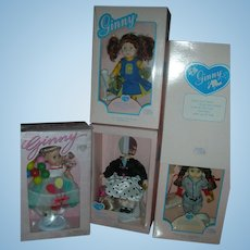 Lot of Vogue Ginny Dolls in Box 8 inch Cheerleader, 50's Fashion, Birthday and Little League