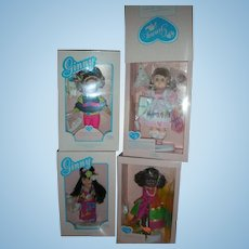 4 Vintage Vogue 8 inch Ginny Dolls in Box Queen of Mardi Gras, On The Slopes, 40th Birthday and Aloha