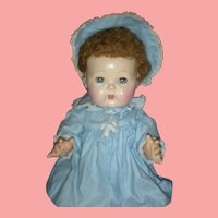 Early 14 inch American Character Tiny Tears Doll Wearing Rare Coat and Bonnet 1950's