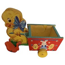 Vintage Easter Fisher Price 1957 walking Duck Cart Easter Toy #305
