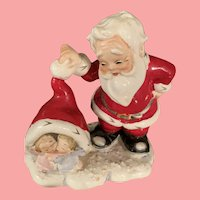 Vintage Rare Lefton Santa with Angel Babies Christmas  Figurine