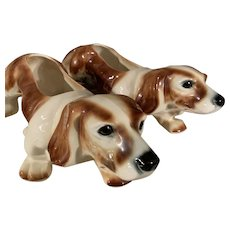 Pair of Mid Century Large Basset Hound Dog Planters 1950's