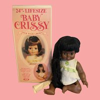HTF vintage Ideal Baby Crissy playpal Doll Black Version in box