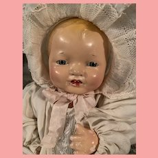 """Vintage Effanbee Bubbles Composition Baby Doll 15"""" Small Size"""