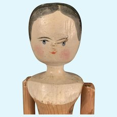 Vintage Peg Wooden Doll 11.5 inch Jointed
