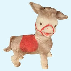 Vintage 1961 Sun Rubber Donkey Squeak Toy Turnable Head