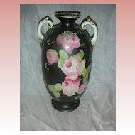 Vintage Black Handpainted Large Rose Vase with Handles
