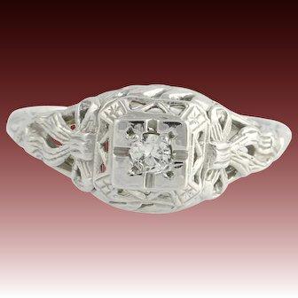 Art Deco Vintage Genuine Diamond Engagement Ring - 14k White Gold Filigree A+