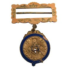 Masonic Medal - Vintage Antique Square & Compass Trowel Blue Lodge Collectible