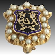 Genuine Theta Delta Chi Pearl & Diamond Vintage Badge - 14k Yellow Gold Pin A+